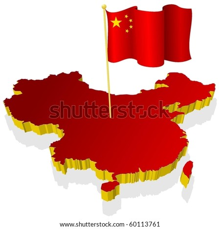 three-dimensional image map of China with the national flag - stock vector