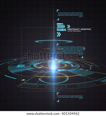 Three-dimensional interface technology, science fiction scene. - stock vector