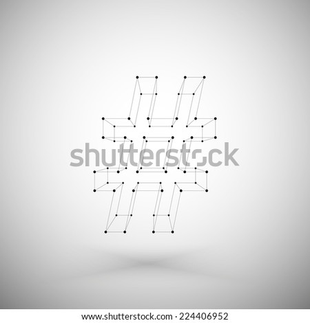 Three dimensional mesh stylish hashtag sign on white background, single color clear vector. - stock vector