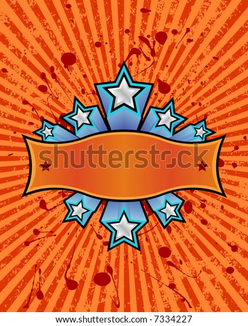 three dimensional silver stars set against a orange striped grunge background. just add your own text. - stock vector