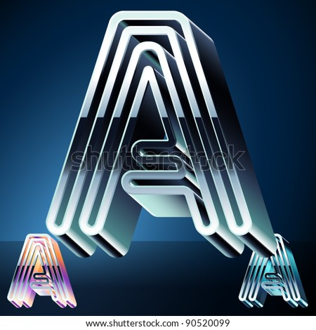 Three-dimensional ultra-modern alphabet from chrome or metal letters. Character a - stock vector