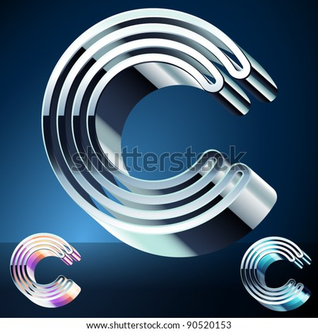 Three-dimensional ultra-modern alphabet from chrome or metal letters. Character c - stock vector