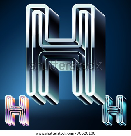Three-dimensional ultra-modern alphabet from chrome or metal letters. Character h - stock vector