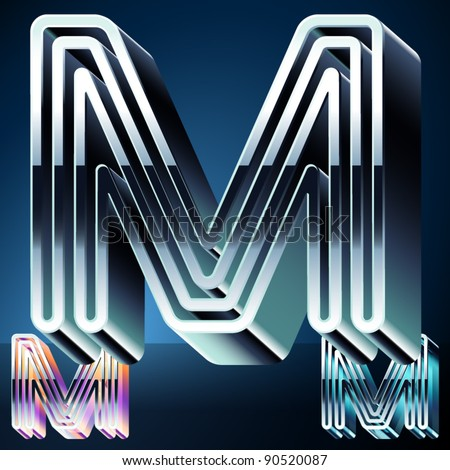 Three-dimensional ultra-modern alphabet from chrome or metal letters. Character m - stock vector