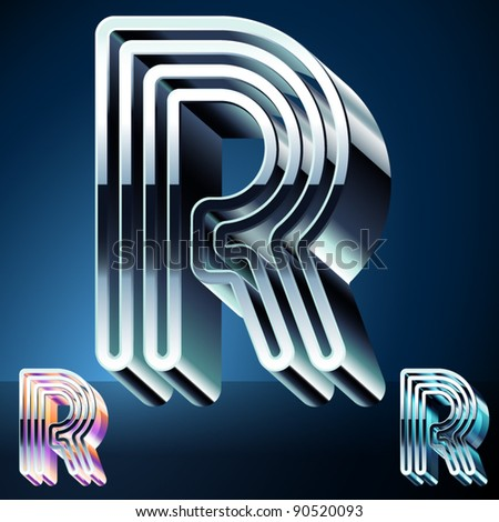 Three-dimensional ultra-modern alphabet from chrome or metal letters. Character r - stock vector