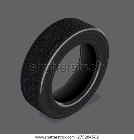 Three dimensional vector drawing realistic tire set 1 - stock vector