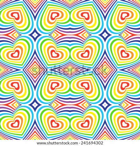 Three-dimensional volumetric seamless pattern. colorful rainbow on white background. vector - stock vector