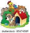 Three domestic animals - vector illustration. - stock vector