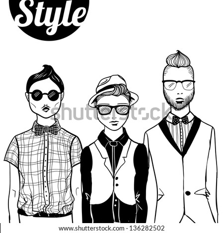 """Three doodle fashion """"hipster"""" men. - stock vector"""