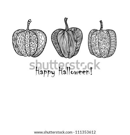 Three doodle textured pumpkins background. - stock vector