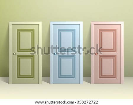 Three doors stand on the floor leaning against the wall - stock vector