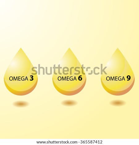 Three drops of polyunsaturated fatty acids omega 3 omega 6 omega 9 on a light yellow background, how to perform simple symbols - stock vector
