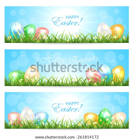 Three Easter cards with colorful eggs in the grass and Sun, illustration. - stock vector
