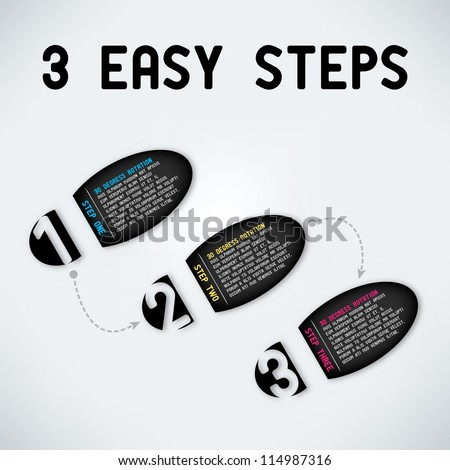 Three easy steps - stock vector