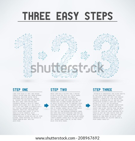 Three Easy Steps - High detail eps10 vector mesh concept  - stock vector