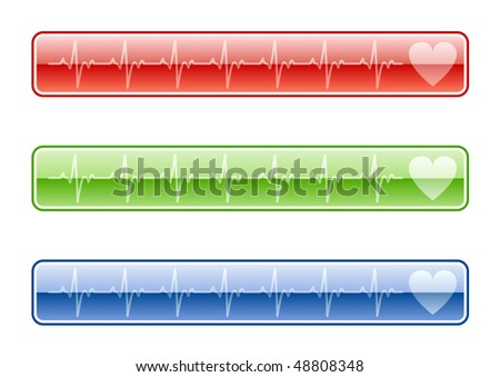 Three EKG buttons in various colors - stock vector