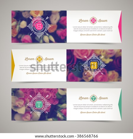 Three elegant banners with floral background and flourishes monogram logo - vector illustration, template design for greeting card, invitation, label, flyer, ticket etc