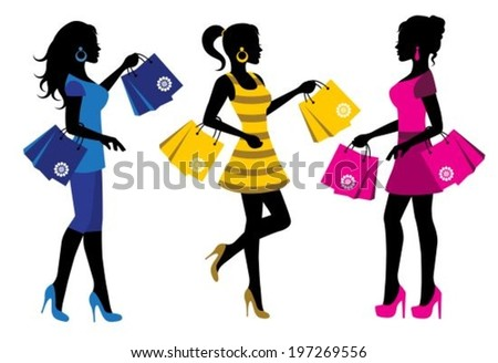 three elegant female silhouette with shopping bags on white background  - stock vector