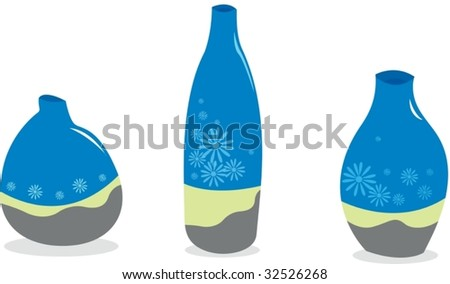 Three Empty Vases Standing Row Stock Vector 32526268 Shutterstock