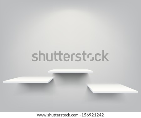Three empty white shelves hanging on a wall. EPS10 vector.  - stock vector