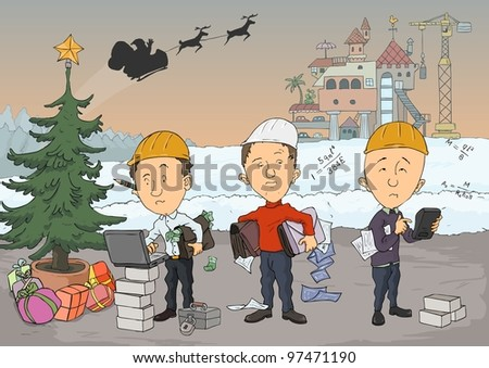 Three engineers are planning the construction of the castle - stock vector