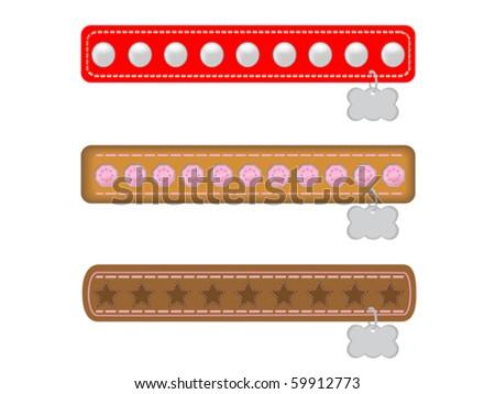Three Fancy Dog Collars - stock vector