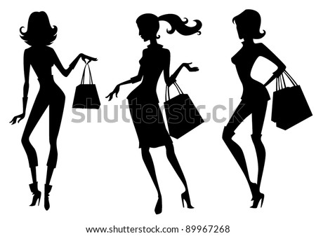 three fashionable girl silhouettes - stock vector