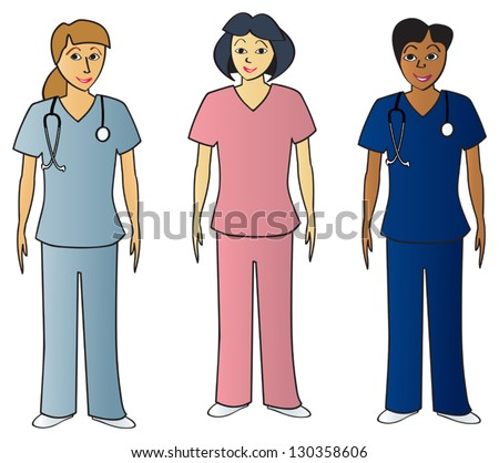 Three female health care professionals wearing scrubs of various common colors. - stock vector