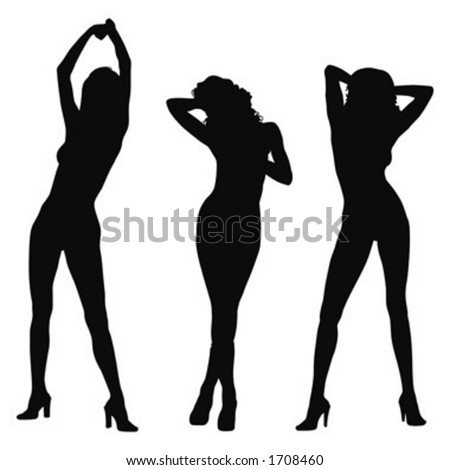 three female model silhouette posing - stock vector