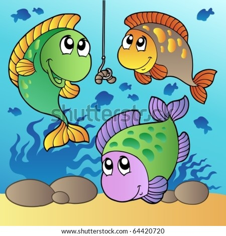 Three fishes and fishing hook - vector illustration. - stock vector