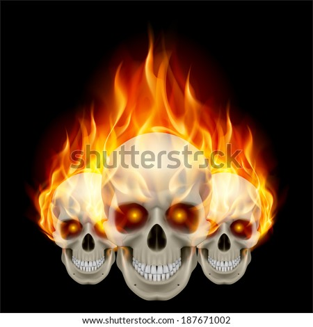 Three flaming skulls with fiery eyes. Illustration on black background - stock vector