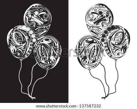 Three floral Balloons in white and black colors - stock vector