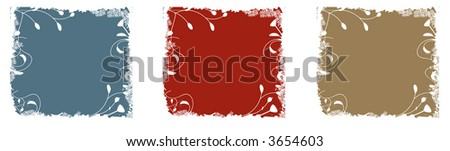 Three floral bordered square backgrounds in vector format. - stock vector