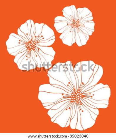 Three flowers on orange - stock vector