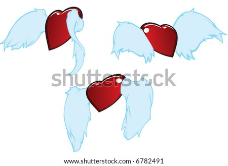 three flying hearts flying away... or not -- vector illustration