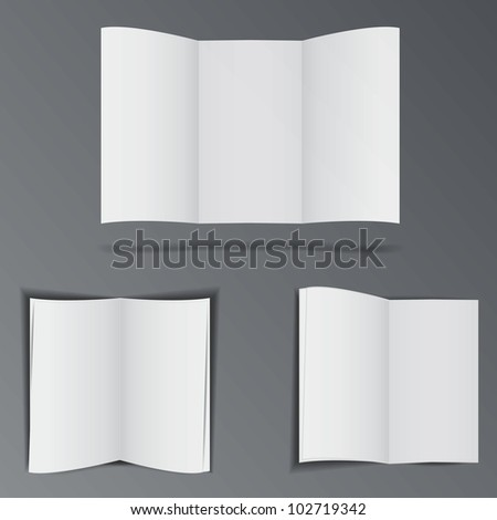 Three folded paper brochures empty for advertisement