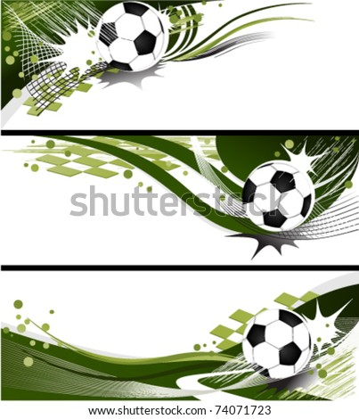 Three football banners - stock vector