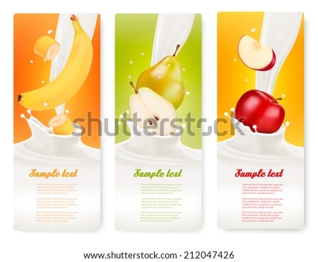 Three fruit and milk banners. Vector.  - stock vector