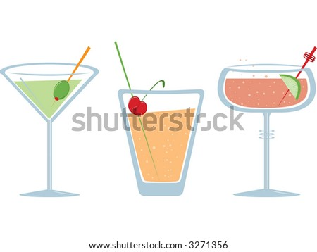Three fruity fizzy drinks. Fully editable vector illustration.