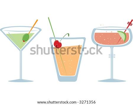 Three fruity fizzy drinks. Fully editable vector illustration. - stock vector