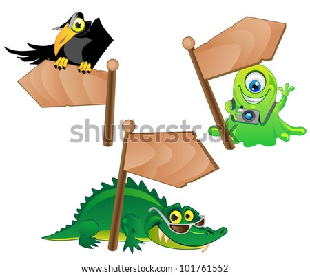 three funny cartoon characters - the Crow, Alien and Alligator with wood pointers. - stock vector
