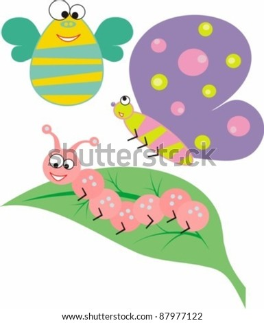 Three funny cartoon insects and leaf
