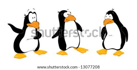 Three funny penguins look out - stock vector