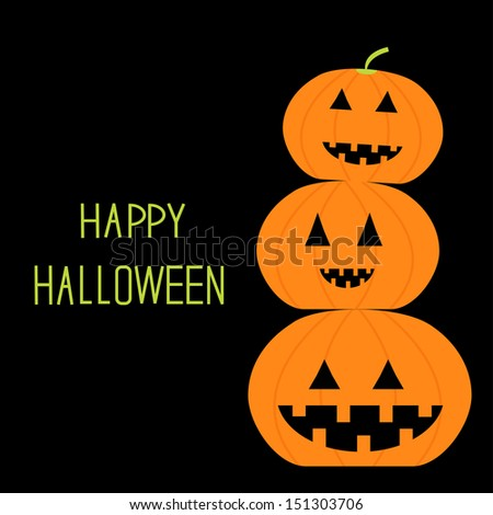 Three funny pumpkins. Halloween card. Vector illustration - stock vector