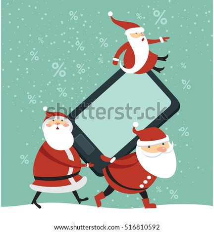 Three funny Santas holding huge brand new smartphone