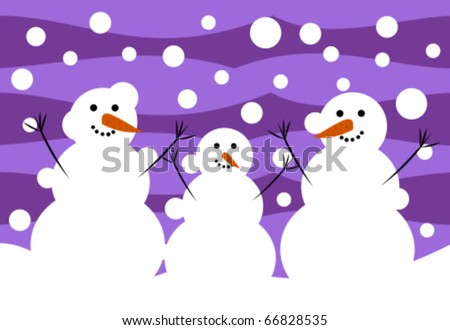 Three funny snowmen. Winter illustration - stock vector