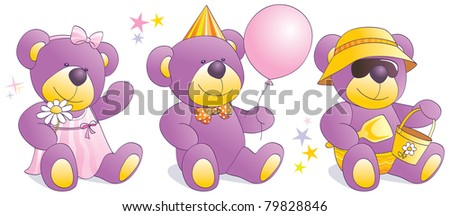 Three funny teddy bears in situations - romantic girl, party guy, cool boy at beach. Vector illustration - stock vector