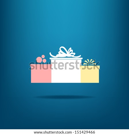 Three gift boxes on blue background. Vector version. - stock vector