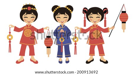 Three girls in traditional costumes celebrate Chinese New Year - stock vector
