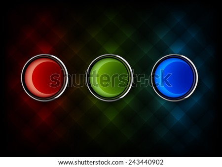 Three glossy buttons as RGB colors. Red green and blue vector elements. - stock vector